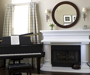 piano by fire place